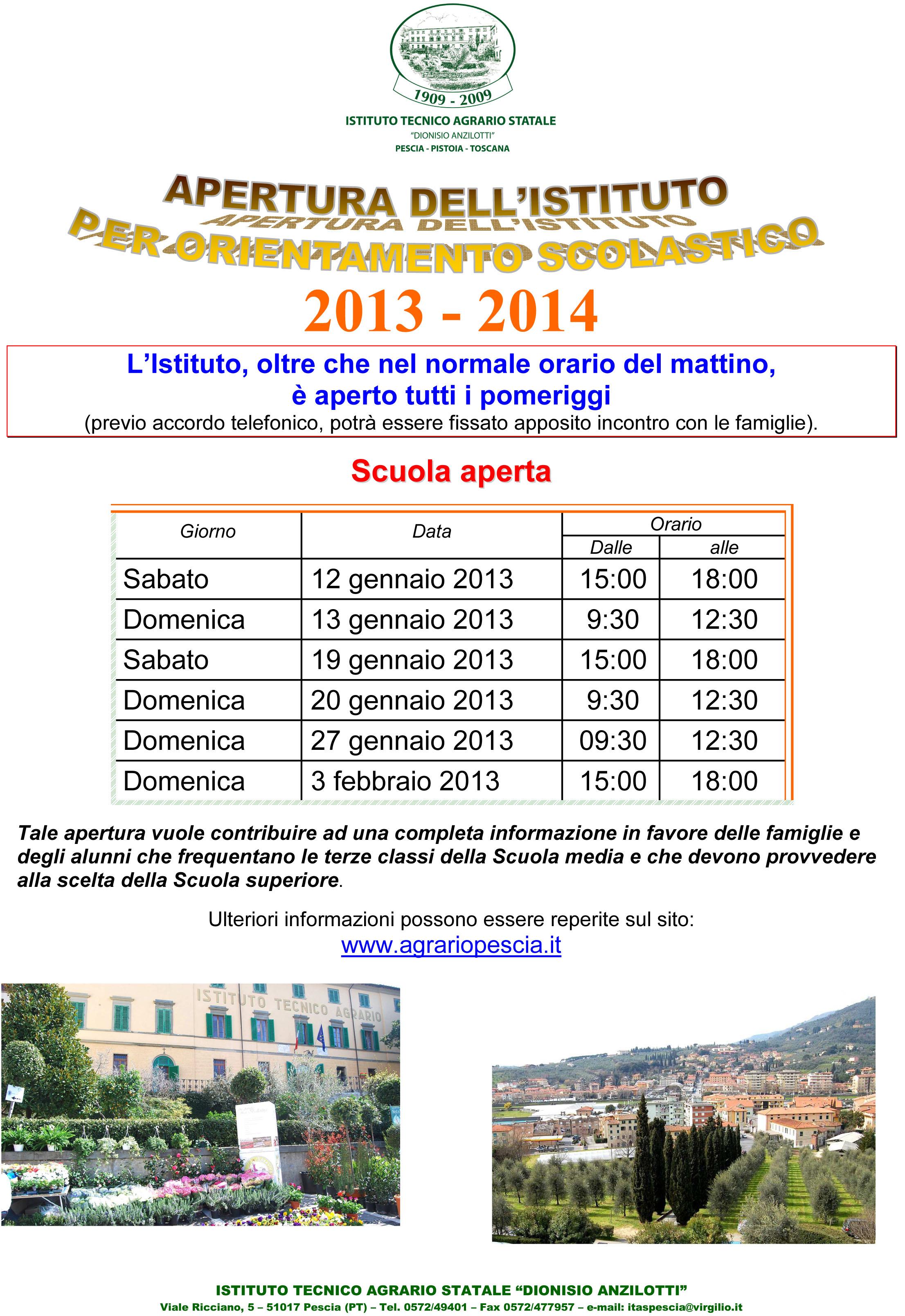 Calendario_giorni Scuola Aperta 2013_2014